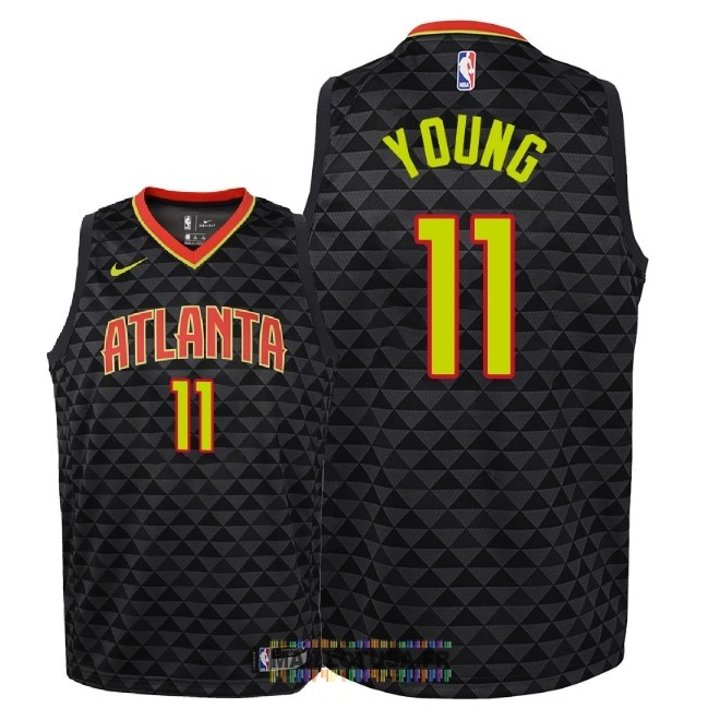 Maillot NBA Enfant Atlanta Hawks NO.11 Trae Young Noir Icon 2018-19