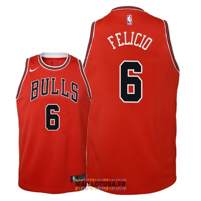 Maillot NBA Enfant Chicago Bulls NO.6 Cristiano Felicio Rouge Icon 2018