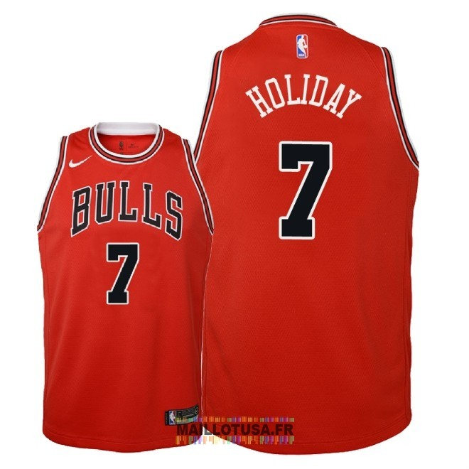 Maillot NBA Enfant Chicago Bulls NO.7 Justin Holiday Rouge Icon 2018