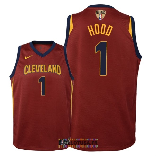 Maillot NBA Enfant Cleveland Cavaliers 2018 Final Champions NO.1 Rodney Hood Rouge Icon Patch
