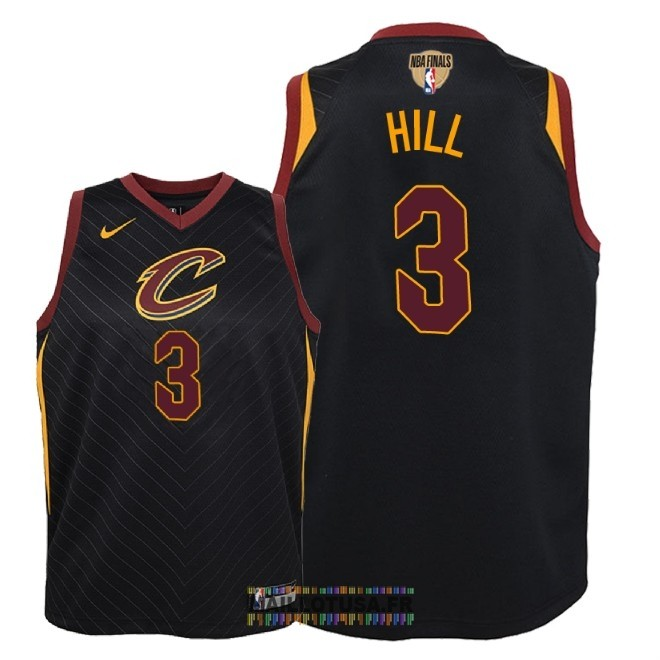 Maillot NBA Enfant Cleveland Cavaliers 2018 Final Champions NO.3 George Hill Noir Statement Patch