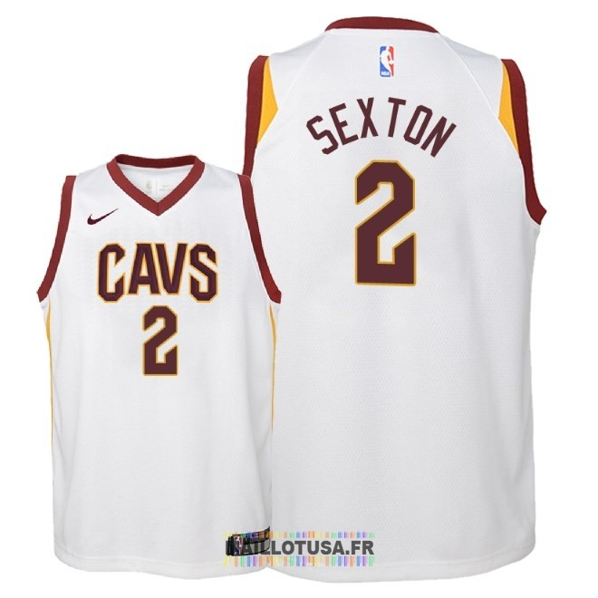 Maillot NBA Enfant Cleveland Cavaliers NO.2 Collin Sexton Blanc Association 2018