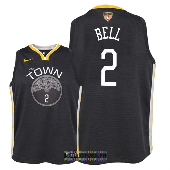 Maillot NBA Enfant Golden State Warriors 2018 Final Champions NO.2 Jordan Bell Noir Statement Patch