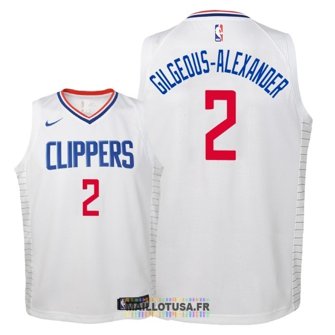 Maillot NBA Enfant Los Angeles Clippers NO.2 Shai Gilgeous Alexander Blanc Association 2018