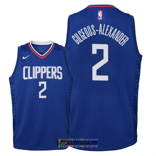Maillot NBA Enfant Los Angeles Clippers NO.2 Shai Gilgeous Alexander Bleu Icon 2018