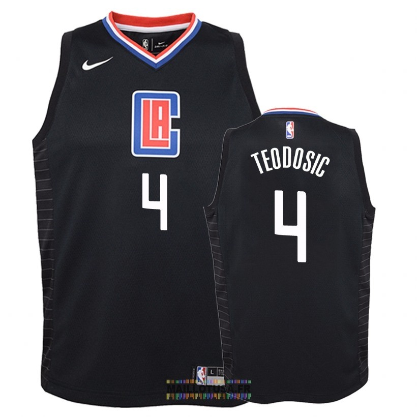Maillot NBA Enfant Los Angeles Clippers NO.4 Milos Teodisic Noir Statement 2018