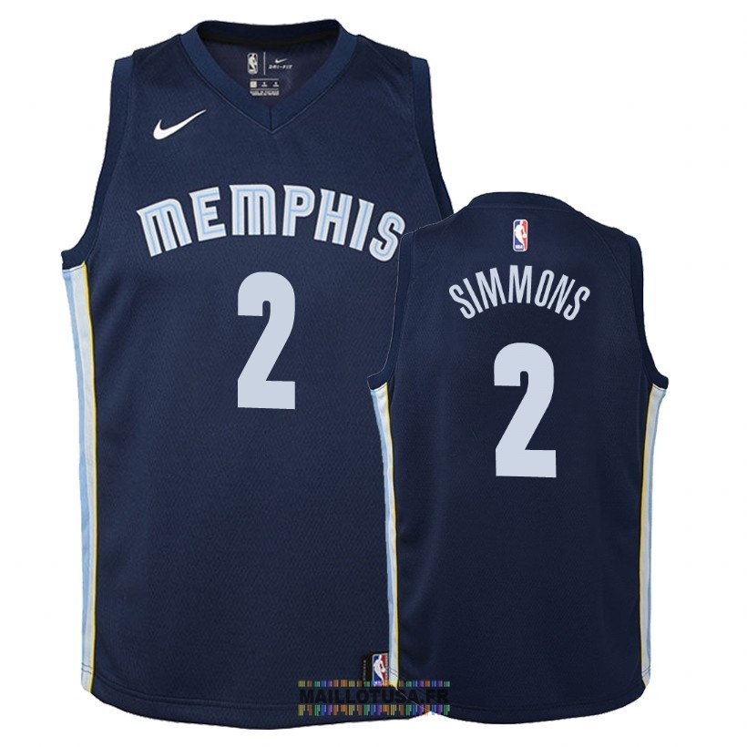 Maillot NBA Enfant Memphis Grizzlies NO.2 Kobi Simmons Marine Icon 2018