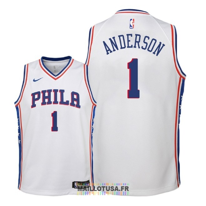 Maillot NBA Enfant Philadelphia Sixers NO.1 Justin Anderson Blanc Association 2018