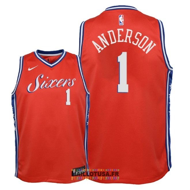 Maillot NBA Enfant Philadelphia Sixers NO.1 Justin Anderson Rouge Statement 2018