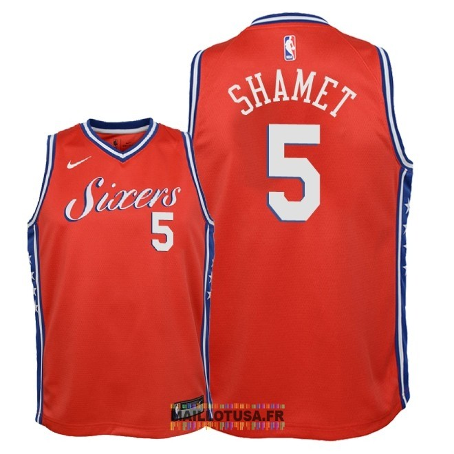 Maillot NBA Enfant Philadelphia Sixers NO.5 Landry Shamet Rouge Statement 2018