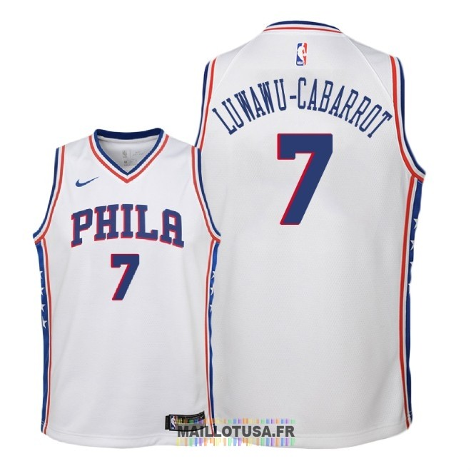 Maillot NBA Enfant Philadelphia Sixers NO.7 Timothe Luwawu Cabarrot Blanc Association 2018