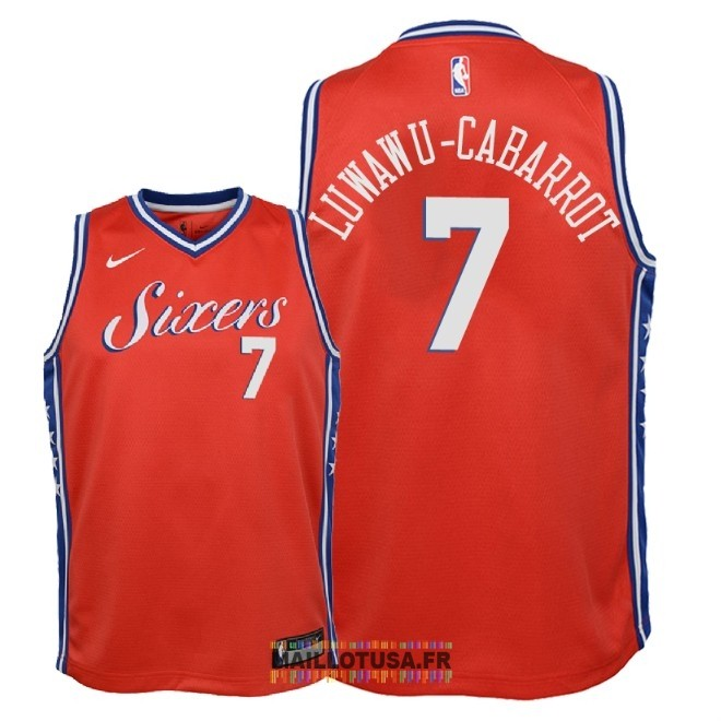 Maillot NBA Enfant Philadelphia Sixers NO.7 Timothe Luwawu Cabarrot Rouge Statement 2018