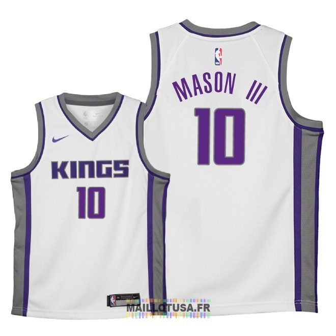 Maillot NBA Enfant Sacramento Kings NO.10 Frank Mason III Blanc Association 2018