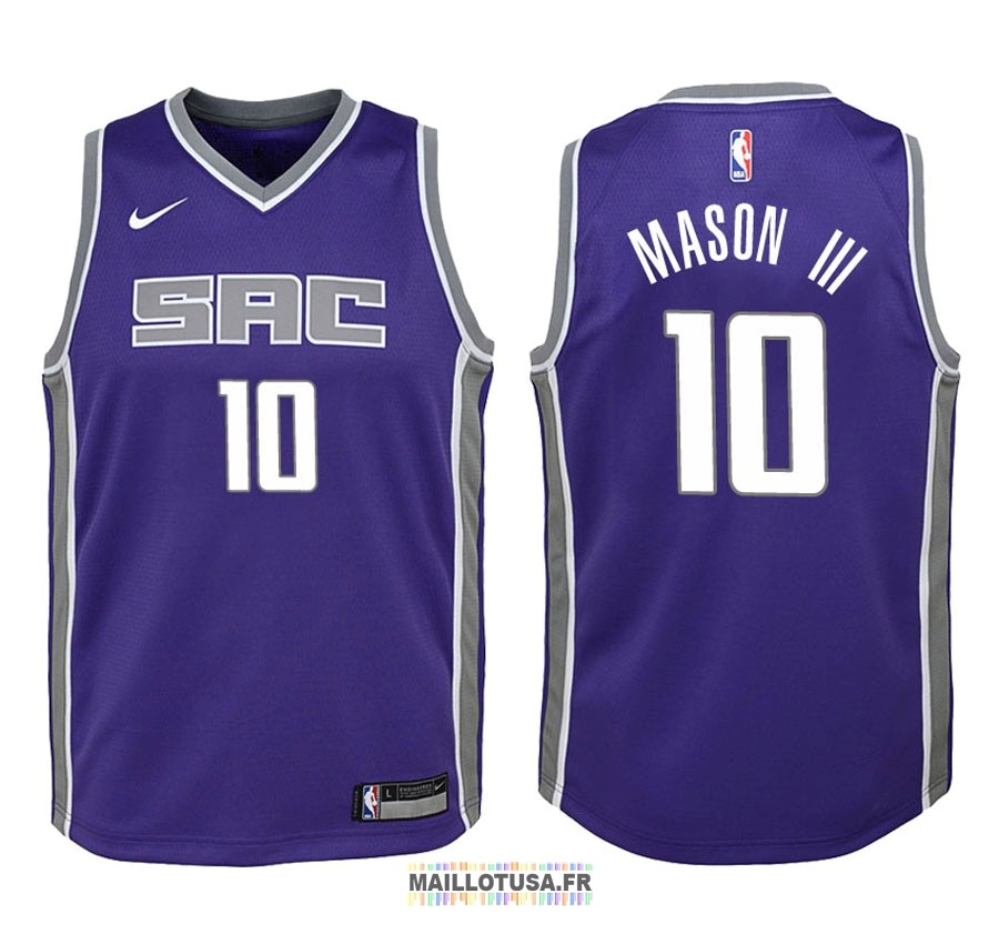 Maillot NBA Enfant Sacramento Kings NO.10 Frank Mason III Pourpre Icon 2018
