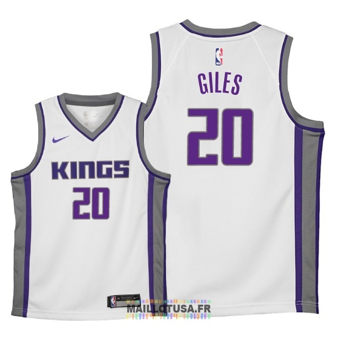 Maillot NBA Enfant Sacramento Kings NO.20 Harry Giles Blanc Association 2018