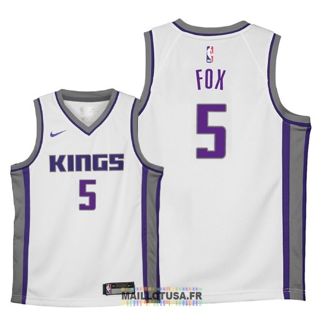 Maillot NBA Enfant Sacramento Kings NO.5 De'Aaron Fox Blanc Association 2018