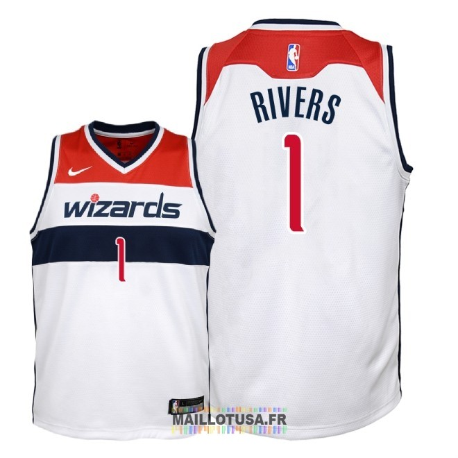 Maillot NBA Enfant Washington Wizards NO.1 Austin Rivers Blanc Association 2018