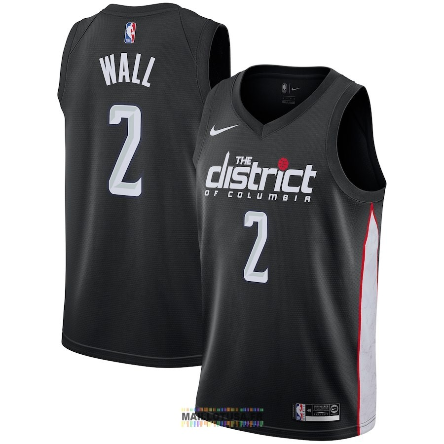Maillot NBA Enfant Washington Wizards NO.2 John Wall Nike Noir Ville 2018-19