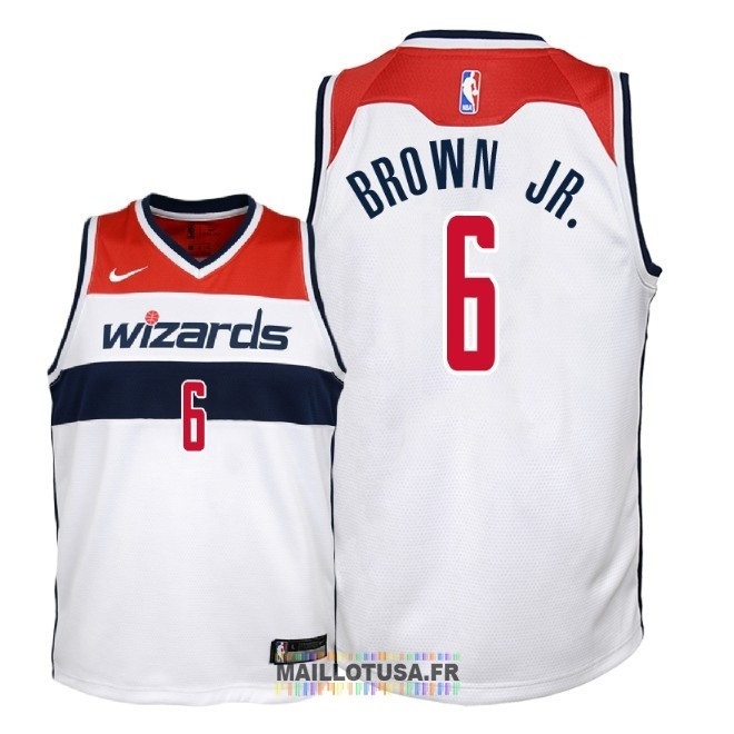 Maillot NBA Enfant Washington Wizards NO.6 Troy Brown Jr Blanc Association 2018