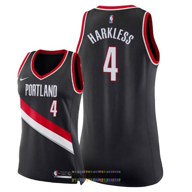Maillot NBA Femme Portland Trail Blazers NO.4 Maurice Harkless Noir Icon 2018