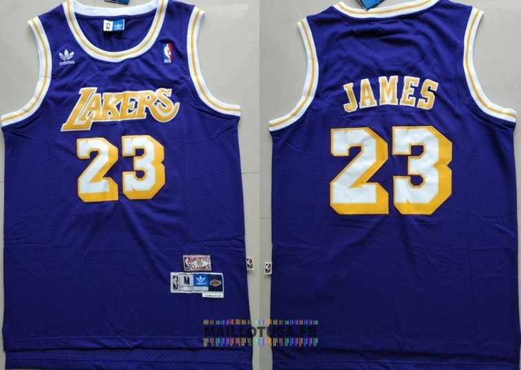 Maillot NBA Los Angeles Lakers NO.23 Lebron James Retro Pourpre