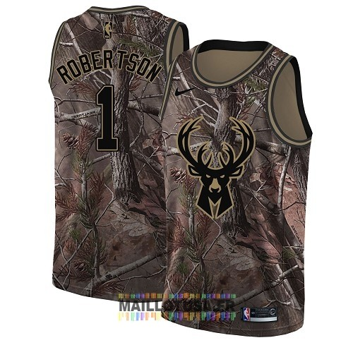 Maillot NBA Milwaukee Bucks NO.1 Oscar Robertson Camo Swingman Collection Realtree 2018