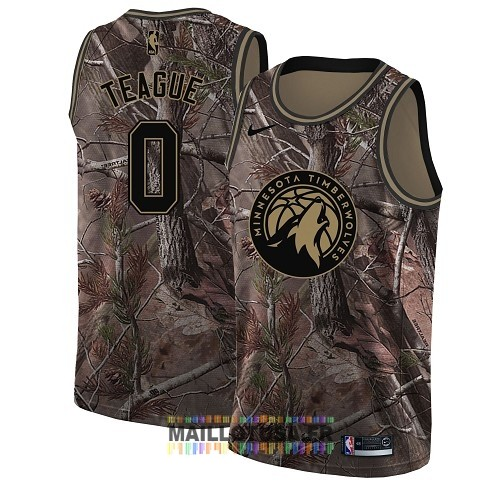 Maillot NBA Minnesota Timberwolves NO.0 Jeff Teague Camo Swingman Collection Realtree 2018