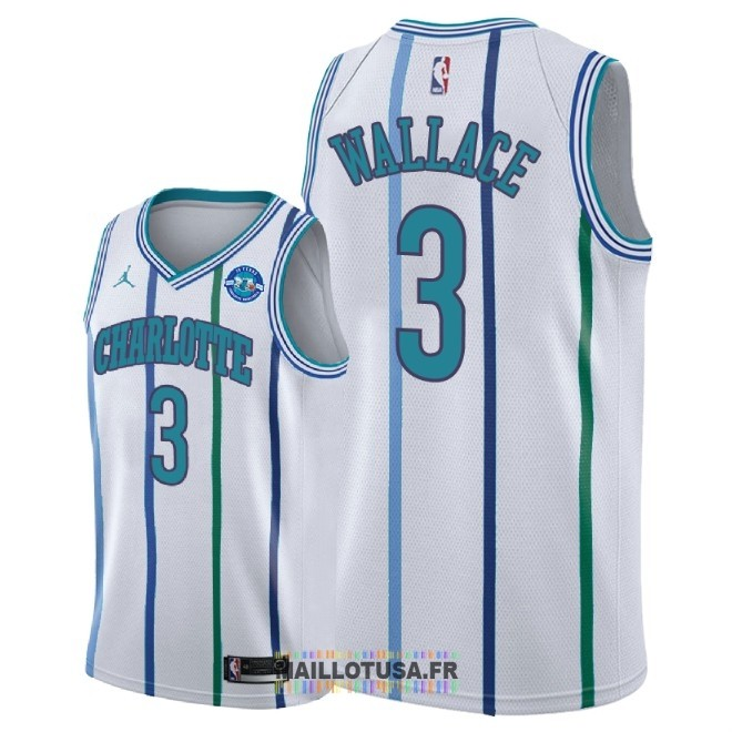 Maillot NBA Nike Charlotte Hornets NO.3 Gerald Wallace Retro Blanc 30 Anniversaire 2018-19