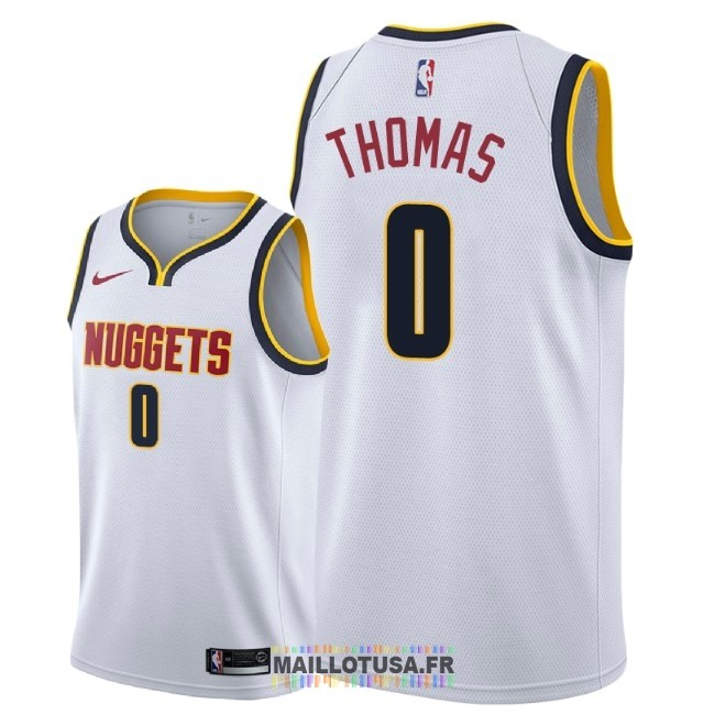 Maillot NBA Nike Denver Nuggets NO.0 Isaiah Thomas Blanc Association 2018-19