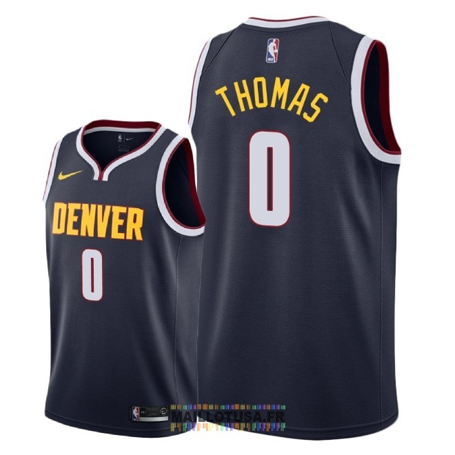 Maillot NBA Nike Denver Nuggets NO.0 Isaiah Thomas Marine Icon 2018-19
