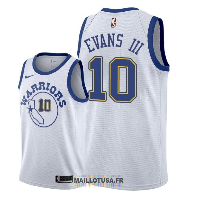 Maillot NBA Nike Golden State Warriors NO.10 Jacob Evans III Nike Retro Blanc 2018