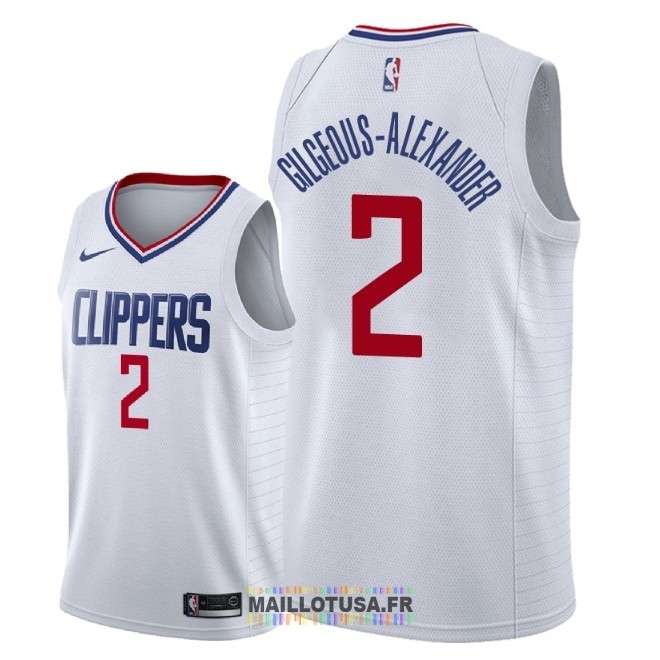 Maillot NBA Nike Los Angeles Clippers NO.2 Shai Gilgeous Alexander Blanc Association 2018