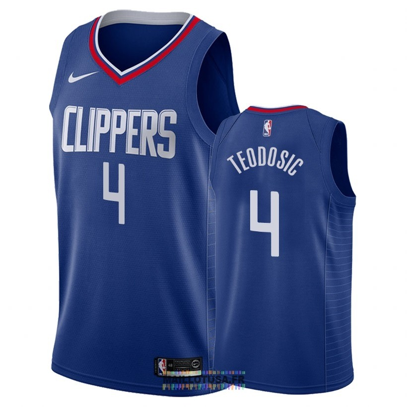 Maillot NBA Nike Los Angeles Clippers NO.4 Milos Teodisic Bleu Icon 2018