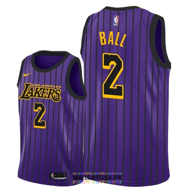 Maillot NBA Nike Los Angeles Lakers NO.2 Lonzo Ball Nike Pourpre Ville 2018-19