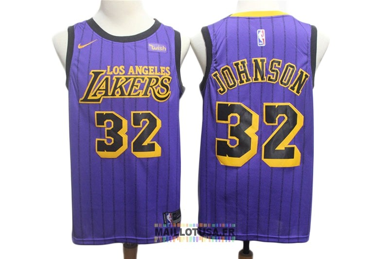Maillot NBA Nike Los Angeles Lakers NO.32 Magic Johnson Pourpre Ville 2018-19