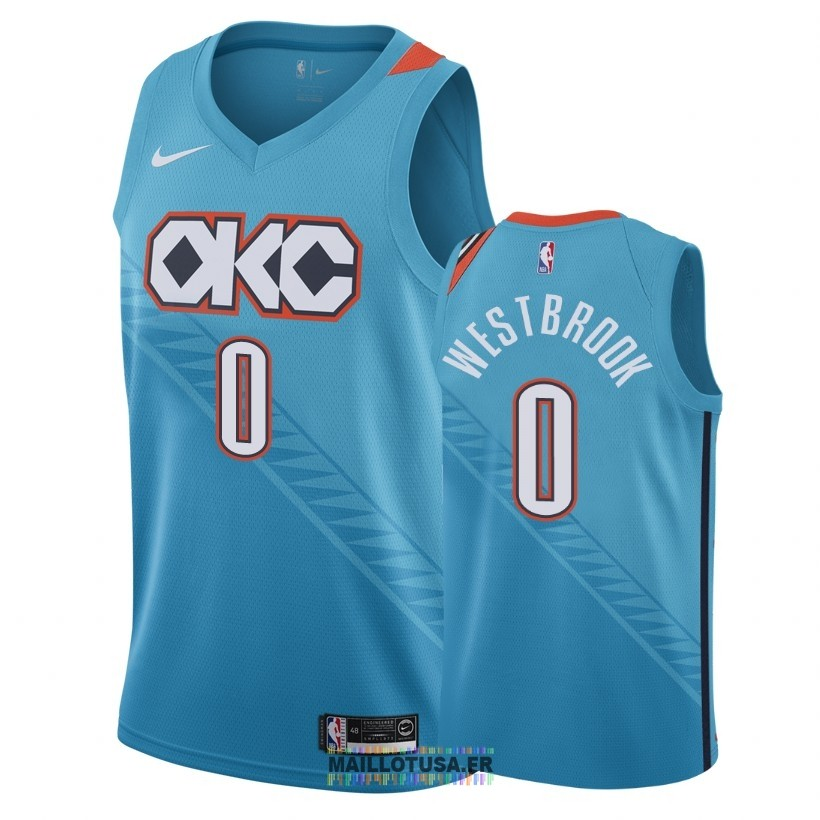 Maillot NBA Nike Oklahoma City Thunder NO.0 Russell Westbrook Nike Turquoise Ville 2018-19