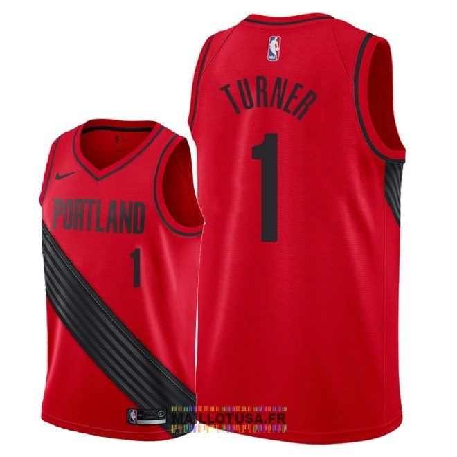 Maillot NBA Nike Portland Trail Blazers NO.1 Evan Turner Rouge Statement 2018