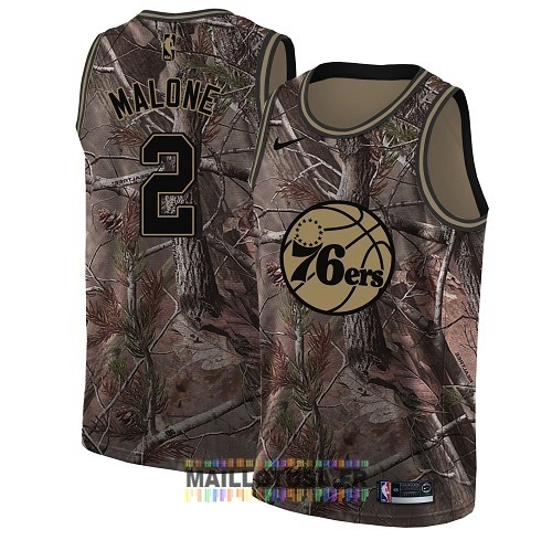 Maillot NBA Philadelphia Sixers NO.2 Moses Malone Camo Swingman Collection Realtree 2018