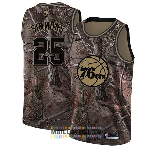 Maillot NBA Philadelphia Sixers NO.25 Ben Simmons Camo Swingman Collection Realtree 2018