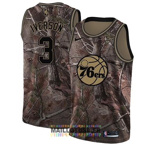 Maillot NBA Philadelphia Sixers NO.3 Allen Iverson Camo Swingman Collection Realtree 2018