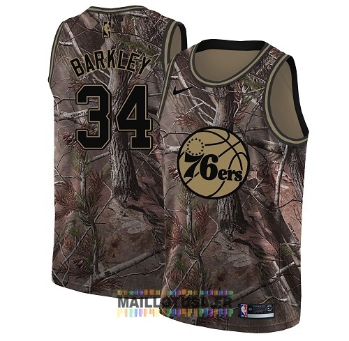 Maillot NBA Philadelphia Sixers NO.34 Charles Barkley Camo Swingman Collection Realtree 2018