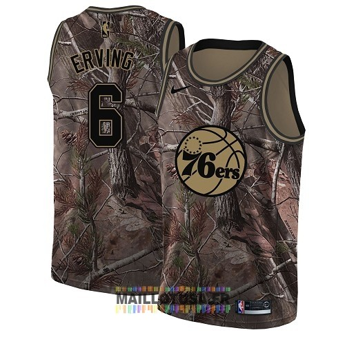 Maillot NBA Philadelphia Sixers NO.6 Julius Erving Camo Swingman Collection Realtree 2018