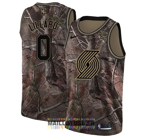 Maillot NBA Portland Trail Blazers NO.0 Damian Lillard Camo Swingman Collection Realtree 2018