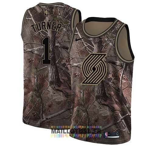 Maillot NBA Portland Trail Blazers NO.1 Evan Turner Camo Swingman Collection Realtree 2018