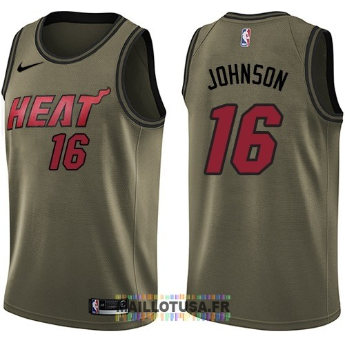 Maillot NBA Service De Salut Miami Heat NO.16 James Johnson Nike Armée verte 2018