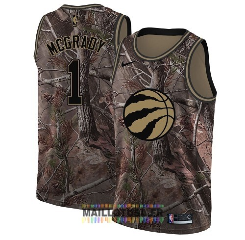 Maillot NBA Toronto Raptors NO.1 Tracy Mcgrady Camo Swingman Collection Realtree 2018