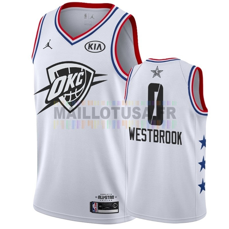 Maillot NBA Pas Cher - Maillot NBA 2019 All Star NO.0 Russell Westbrook Blanc