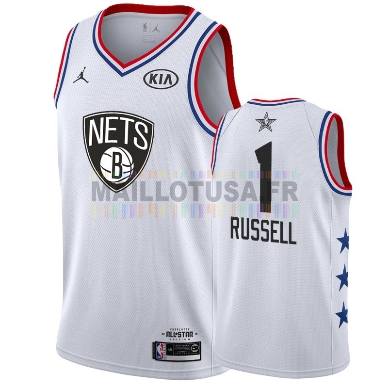 Maillot NBA Pas Cher - Maillot NBA 2019 All Star NO.1 DAngelo Russell Blanc