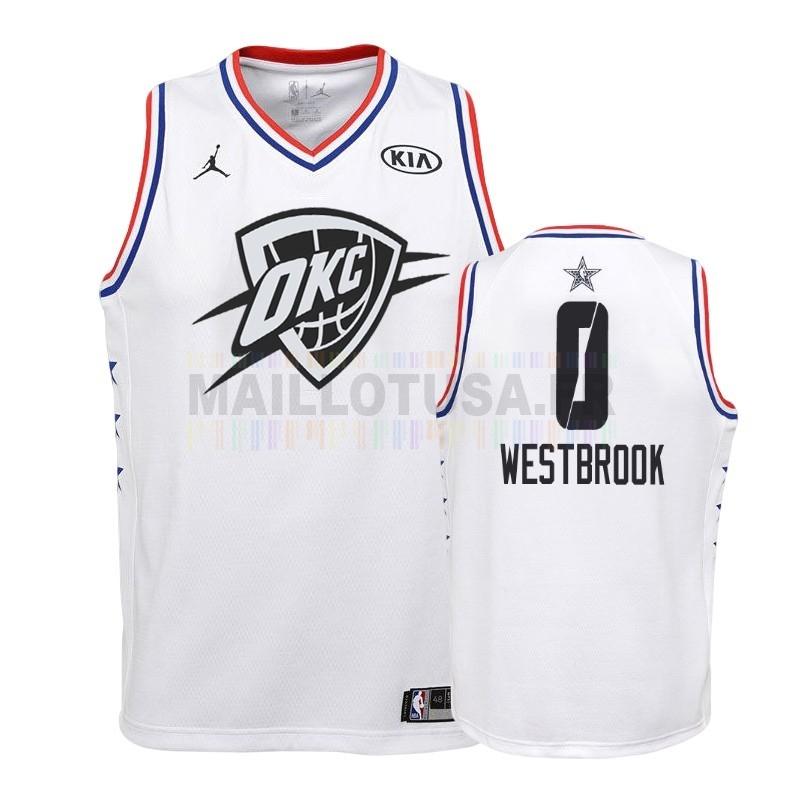 Maillot NBA Pas Cher - Maillot NBA Enfant 2019 All Star NO.0 Russell Westbrook Blanc