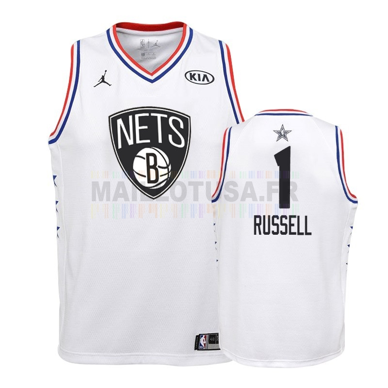 Maillot NBA Pas Cher - Maillot NBA Enfant 2019 All Star NO.1 DAngelo Russell Blanc